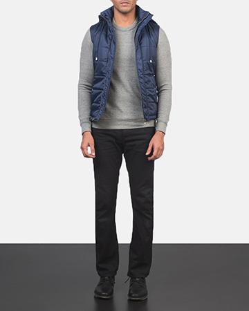 Men's Fuston Blue Hooded Puffer Vest 1