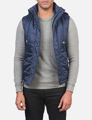 Men's Fuston Blue Hooded Puffer Vest