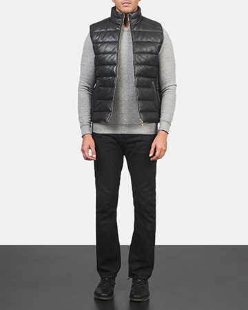 Men's Reeves Black Leather Puffer Vest 1