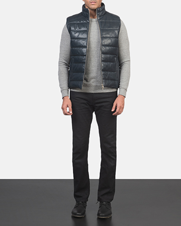 Men's Reeves Blue Leather Puffer Vest 1