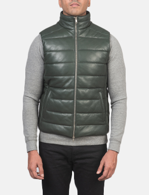 Men's Reeves Green Leather Puffer Vest