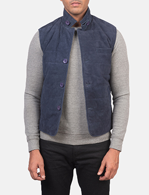 Men's Tony Blue Suede Vest