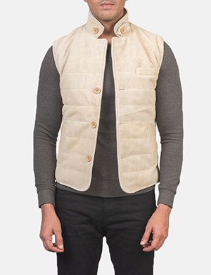 Men's Tony Off-White Suede Vest