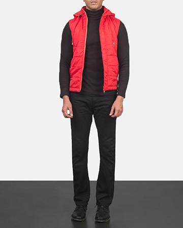 Men's Fuston Red Hooded Puffer Vest 1