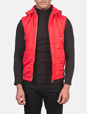 Men's Fuston Red Hooded Puffer Vest