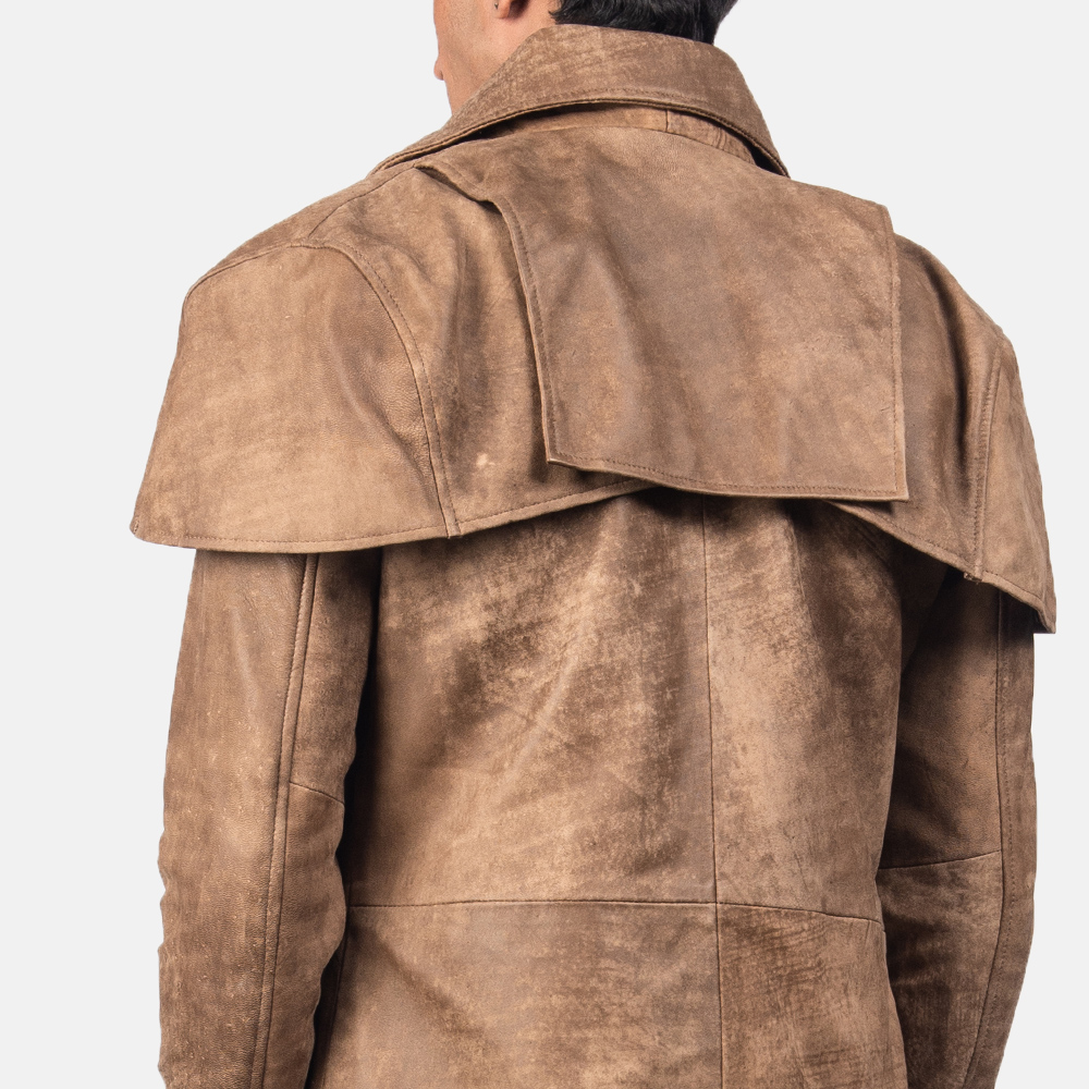 Men's Classic Brown Leather Duster 5