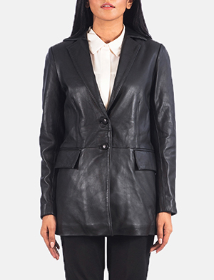 Marilyn Black Leather Blazer