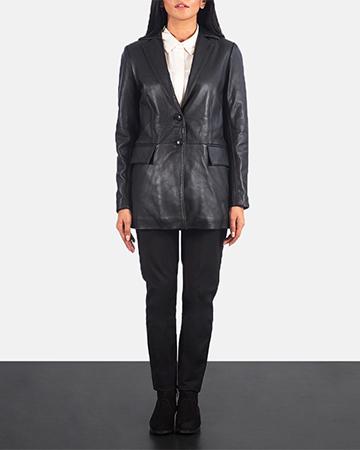 Women's Marilyn Black Leather Blazer 1