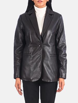Women's Norma Brown Leather Blazer