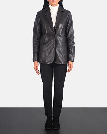 Women's Norma Brown Leather Blazer 1