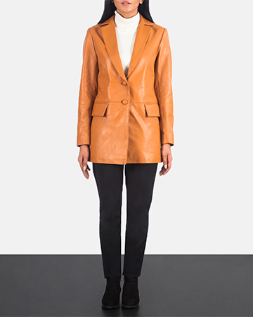 Women's Marilyn Tan Brown Leather Blazer 1