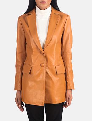 Women's Marilyn Tan Brown Leather Blazer