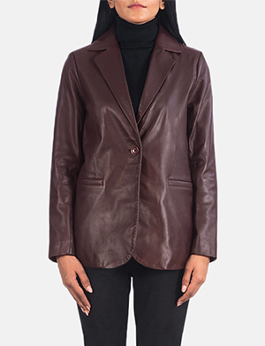 Women's Norma Maroon Leather Blazer