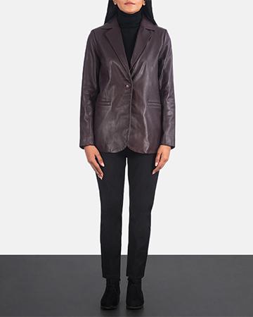 Women's Norma Maroon Leather Blazer 1