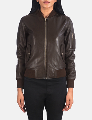 Women's Ava Ma-1 Brown Leather Bomber Jacket