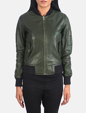 Ava Ma-1 Green Leather Bomber Jacket