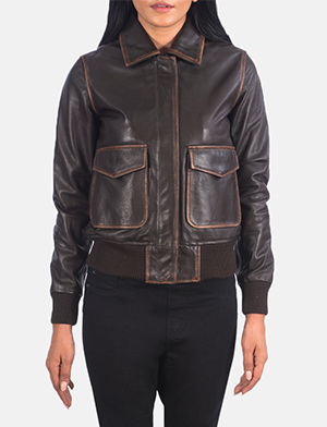 Women's Westa A-2 Brown Leather Bomber Jacket