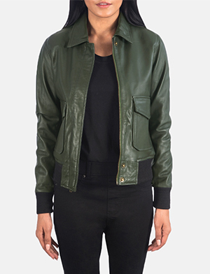 Women's Westa A-2 Green Leather Bomber Jacket