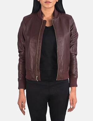 Women's Bliss Maroon Leather Bomber Jacket
