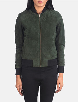 Women's Bliss Green Suede Bomber Jacket