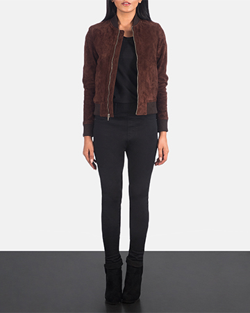 Women's Bliss Brown Suede Bomber Jacket 1