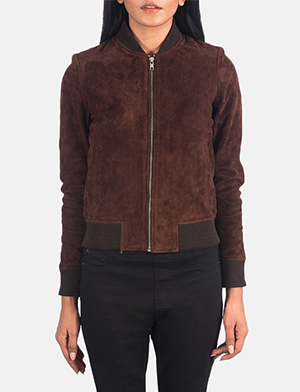 Women's Bliss Brown Suede Bomber Jacket
