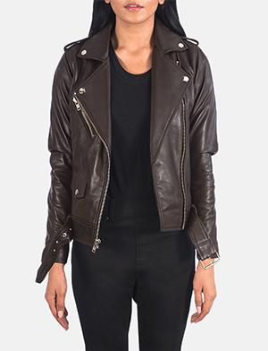 Women's Alison Brown Leather Biker Jacket