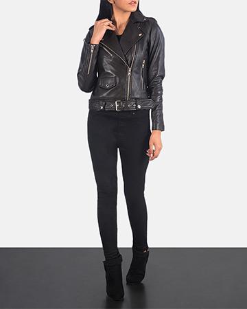 Women's Alison Brown Leather Biker Jacket 1