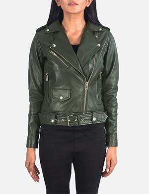 Women's Alison Green Leather Biker Jacket