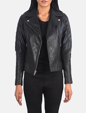 Women's Carolyn Quilted Black Biker Jacket