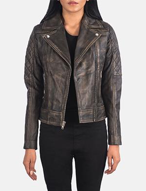 Women's Carolyn Quilted Distressed Brown Biker Jacket