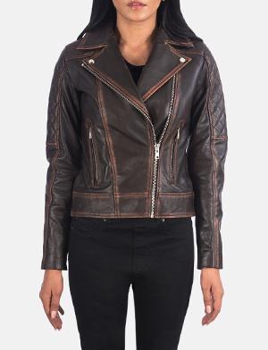 Carolyn Quilted Vintage Brown Biker Jacket