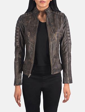 Women's Adalyn Quilted Distressed Brown Leather Biker Jacket