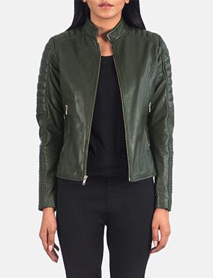 Women's Adalyn Quilted Green Leather Biker Jacket