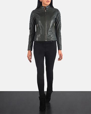 Women's Adalyn Quilted Green Leather Biker Jacket 1