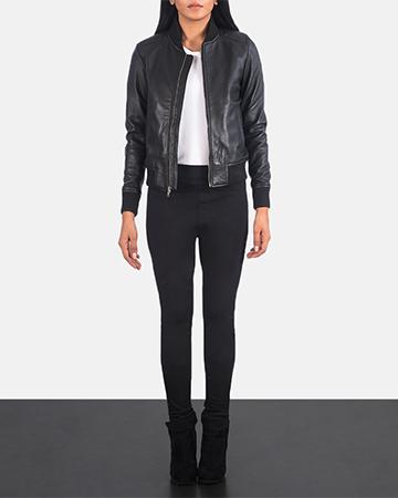 Women's Bliss Black Leather Bomber Jacket 1