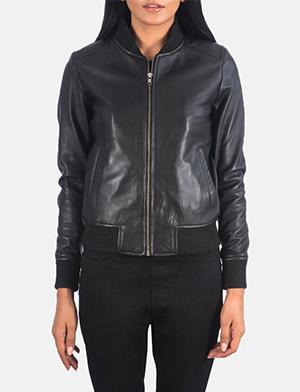 Bliss Black Leather Bomber Jacket
