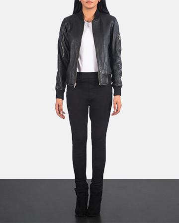 Women's Ava Ma-1 Black Leather Bomber Jacket 1