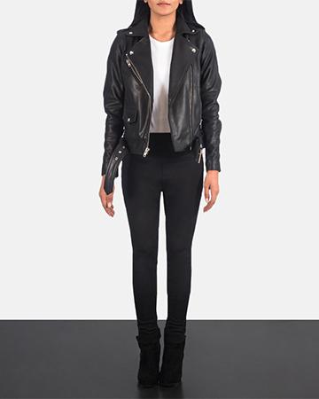 Women's Alison Black Leather Biker Jacket 1