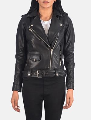 Alison Black Leather Biker Jacket