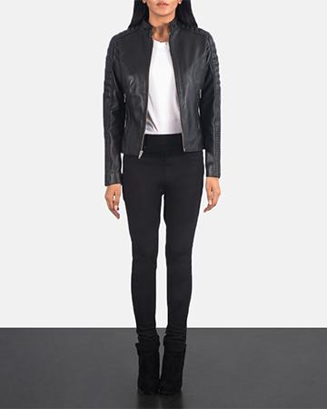 Women's Adalyn Quilted Black Leather Biker Jacket 1