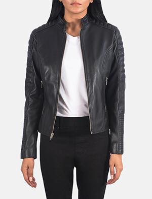 Women's Adalyn Quilted Black Leather Biker Jacket