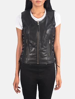 Women's Vanda Black Leather Biker Vest