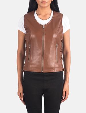 Women's Vanda Brown Leather Biker Vest