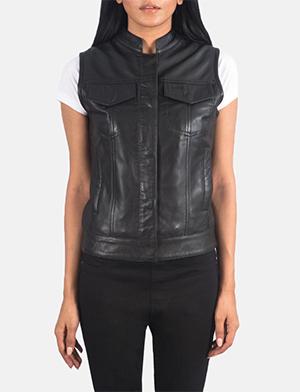 Women's Rayne Moto Black Leather Vest