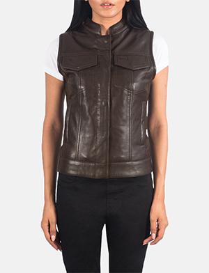 Women's Rayne Moto Brown Leather Vest