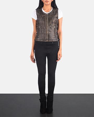 Women's Vanda Distressed Brown Leather Biker Vest 1