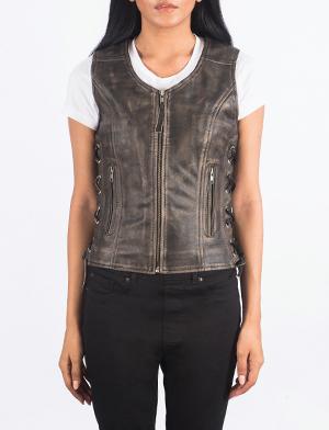 Women's Vanda Distressed Brown Leather Biker Vest