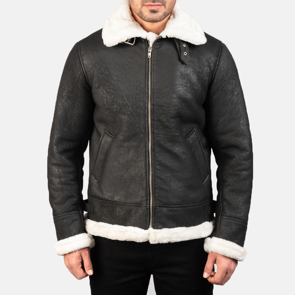 Men's Francis B-3 Distressed Black Leather Bomber Jacket 4