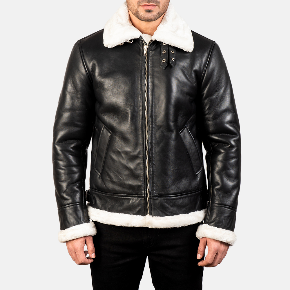 Men's Francis B-3 Black & White Leather Bomber Jacket 4